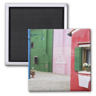 Isla de Burano, Burano, Italia. Burano colorido 2 Imán Cuadrado