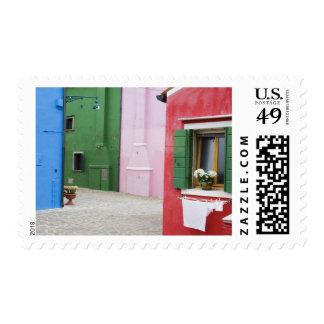 Isla de Burano, Burano, Italia. Burano colorido 2 Sello