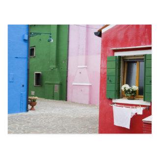 Isla de Burano, Burano, Italia. Burano colorido 2 Tarjetas Postales