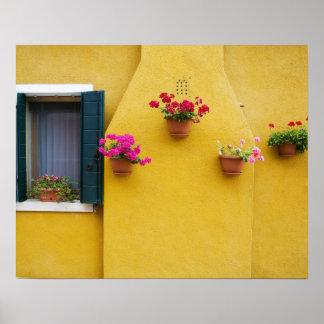 Isla de Burano, Burano, Italia. Burano colorido 3 Póster