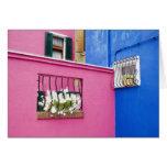 Isla de Burano, Burano, Italia. Burano colorido Tarjetas