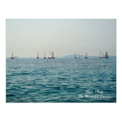 Isla de Capri, Italia, barcos de vela de la postal