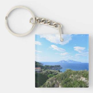 Isla de Capri Llavero Cuadrado Acrílico A Una Cara
