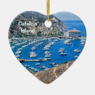 Isla de Catalina Adorno Navideño De Cerámica En Forma De Corazón