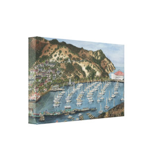 Isla de Catalina, pintura de la acuarela de CA en Lona Estirada Galerias
