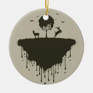 Isla de ciervos adorno navideño redondo de cerámica