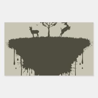 Isla de ciervos pegatina rectangular