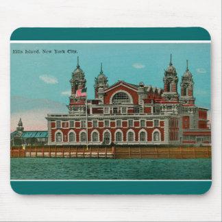 Isla de Ellis del vintage, New York City Alfombrillas De Raton