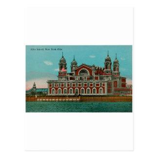 Isla de Ellis del vintage, New York City Tarjeta Postal