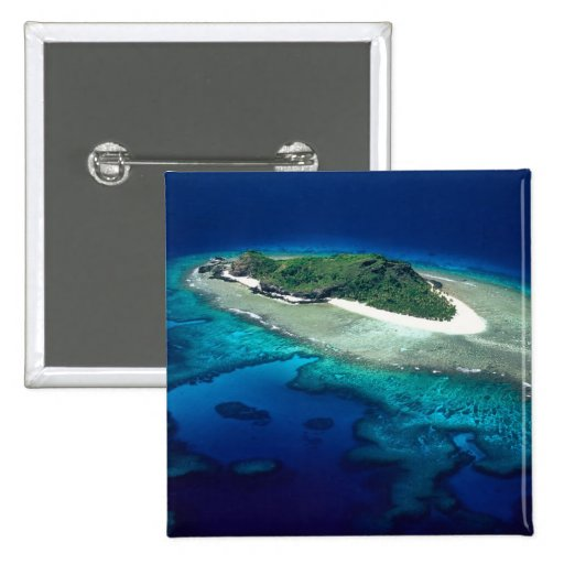 Isla de Eori, islas de Mamanuca, Fiji - antena Pin Cuadrada 5 Cm