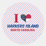 Isla de Harkers, Carolina del Norte Pegatina Redonda