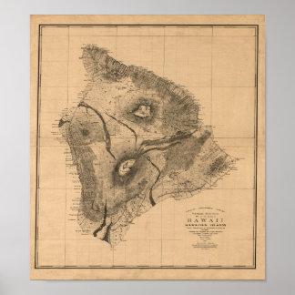 Isla de Hawaii, 1886, mapa hawaiano del vintage Póster