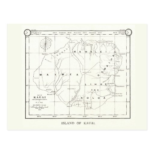 Isla de Kauai, Hawaii, postal 1887 del mapa del vi