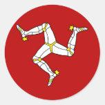 Isla de la bandera de alta calidad del hombre etiquetas redondas