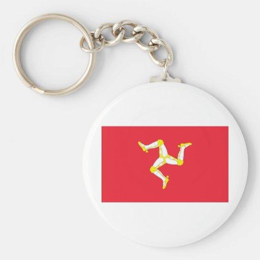 Isla de la bandera del hombre llavero redondo tipo pin