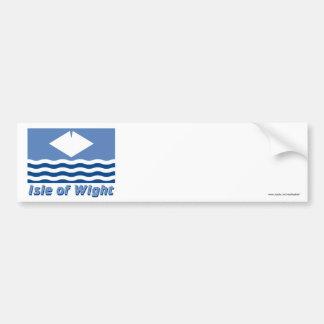 Isla de la bandera del Wight con nombre Pegatina Para Auto