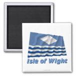 Isla de la bandera que agita del Wight con nombre Imanes