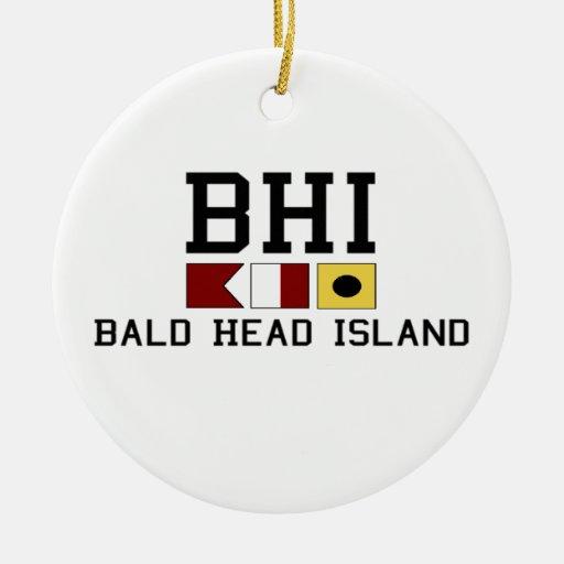 Isla de la cabeza calva adorno redondo de cerámica