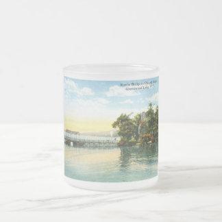 Isla de la capilla, lago greenwood, vintage 1916 d taza cristal mate