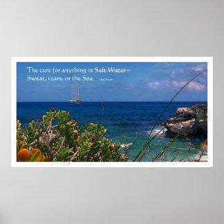 Isla de la curación del agua salada y poster de la