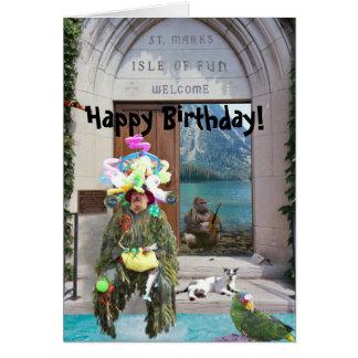 ¡Isla de la diversión, feliz cumpleaños! Tarjeta De Felicitación