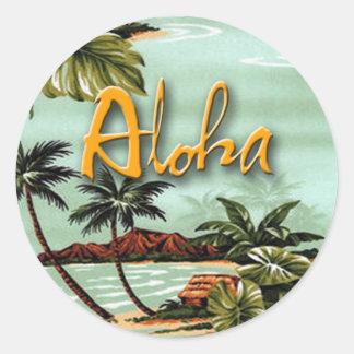 Isla de la hawaiana pegatina redonda