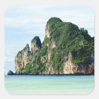 Isla de la phi de la phi de Ko en el mar de Calcomanía Cuadradas