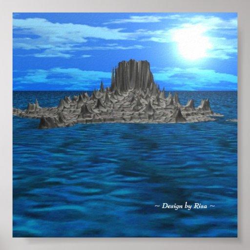 Isla de la roca en el paisaje del SOL 3D Póster