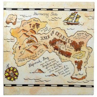 Isla de las servilletas del mapa del tesoro de la