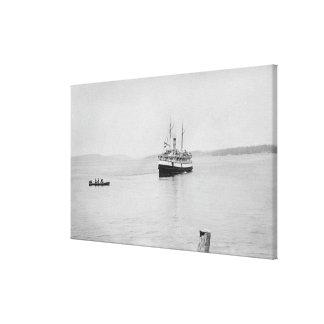 Isla de López, WA - transbordador San Juan de Rosa Impresión En Tela