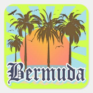 Isla de los recuerdos de Bermudas Pegatinas Cuadradas Personalizadas