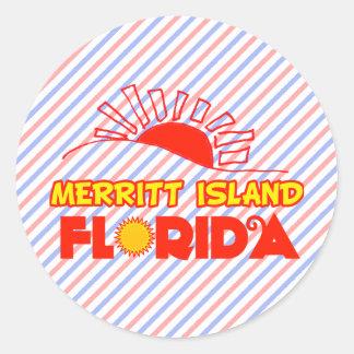 Isla de Merritt, la Florida Pegatina Redonda