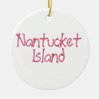 Isla de Nantucket del vintage Adorno Navideño Redondo De Cerámica