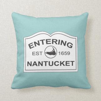 Isla de Nantucket, Est 1659 con el mapa en trullo Cojín Decorativo