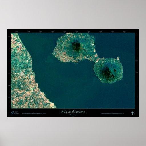 Isla de Ometepe, Nicaragua satellite poster
