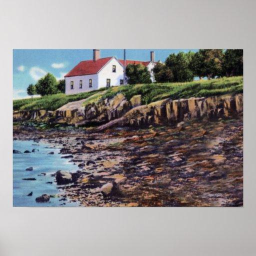 Isla de Orrs de la bahía de Portland Maine Casco Poster