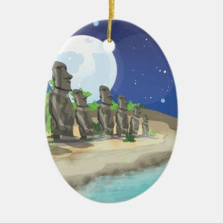 Isla de pascua Moai Adorno Navideño Ovalado De Cerámica