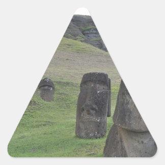 Isla de pascua Moai Pegatina Triangular