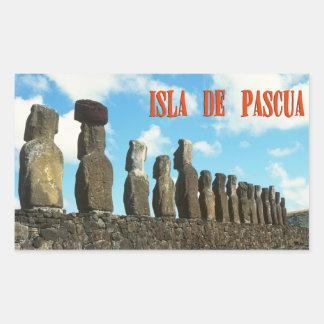 Isla de pascua (Rapa Nui) Chile Pegatina Rectangular