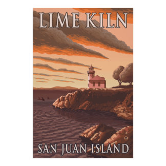 Isla de San Juan, WA - faro del horno de cal Póster