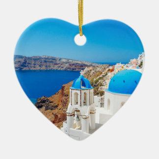 Isla de Santorini - caldera, Grecia Adorno Navideño De Cerámica En Forma De Corazón