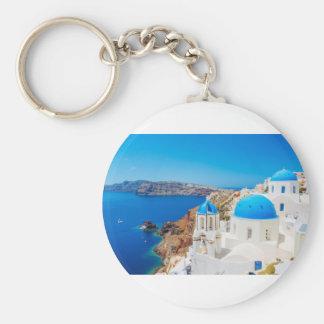 Isla de Santorini - caldera, Grecia Llavero Redondo Tipo Pin