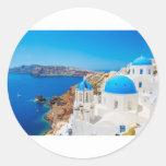 Isla de Santorini - caldera, Grecia Pegatina Redonda