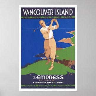 Isla de Vancouver del golf Canadá - viaje del Póster