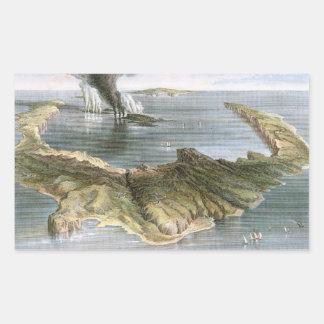 Isla de volcán submarina de Santorini Rectangular Pegatinas