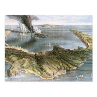 Isla de volcán submarina de Santorini Tarjetas Postales