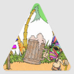 Isla del alcohol de Tiki Pegatina Triangular