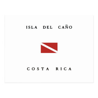 Isla Del Cano Costa Rica Scuba Dive Flag Postcard
