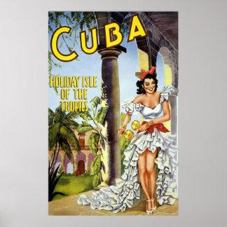 Isla del día de fiesta de Cuba de las zonas tropic Póster
