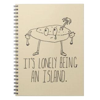 Isla del dibujo animado libro de apuntes con espiral